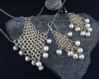 European 4in1 chain malle set with white pearl