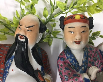 Vintage Chinese Famille Rose Porcelain Figurines removable hands