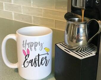 Happy Easter Coffee Mug, Easter Mug for Kids, Unique Easter Basket Gift Item, Children's Mugs, Easter Decorations