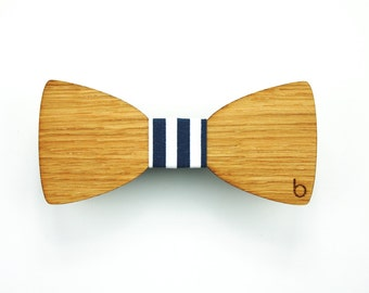 Wooden bow tie with BlueStripes fabric