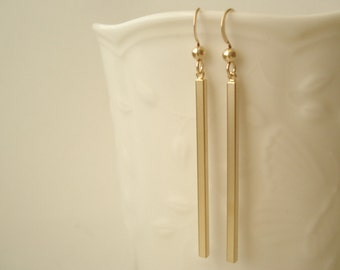 14 kt. Gold-filled french ear wire with gold plated bar earrings, Simple bar earrings, long drop earrings, bridesmaid gift, Gift for her