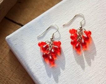 Drops of Red Cluster Earrings
