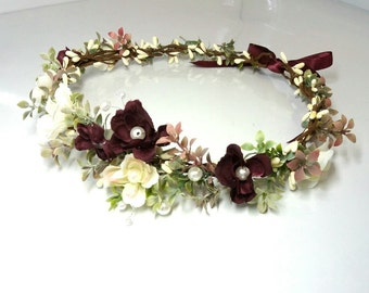 Flower crown Wedding flower crown Bridal headband Floral crown Flower hair wreath Flower halo