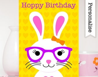 Bunny Birthday Card, Rabbit Birthday Card, Cute Kids Birthday Card, Children Birthday Card, Bunny Rabbit Card, Kids Rabbit Card, Bunny Card