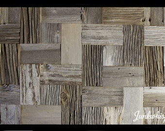 Reclaimed Barn Wood Tiles, Flanders Pattern, Grey Barn Board, Old Century, Architectural Salvage, Wall Art by Junkwhisperer.com