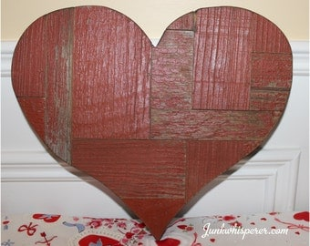 Reclaimed Barn Wood Red Blocks Puzzle Primitive Recycle Salvage Heart Valentine Day Gift Sweetheart Wall Art Decor Be Mine Junkwhisperer.com
