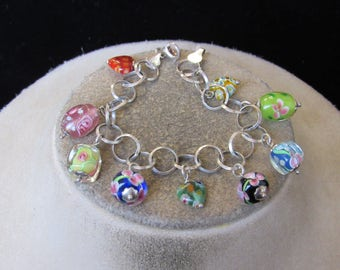 Vintage Sterling Silver Murano Glass Beaded Bracelet