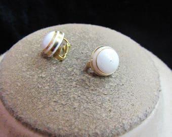 Vintage Pair Of Goldtone White Enameled Clip Earrings