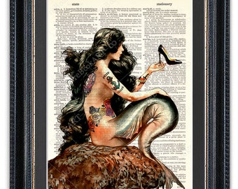 Tattooed Mermaid With Shoe, Dictionary Art Print, Mermaid Art, Mermaid Wall Art, Mermaid Poster, Mermaid Decor, Mermaid Print, Gift for Her