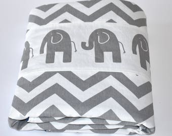Elephants and Chevron  Blanket - patchwork, safari theme , choose your color minky!