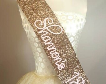 GOLD Glitter Birthday Goddess - Glitter Sash - Personalised Sash - Any Age - Bride to be - gold handmade sparkle - can be personalised