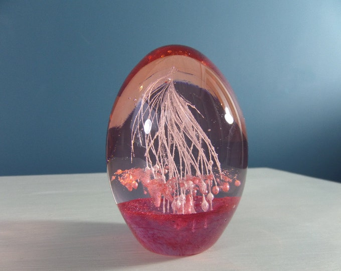 Pink Glass Egg Paperweight, LOW SHIPPING, Most Likely Italian, Immaculate Condition, Swirly Strands and Bubbles Inside, Circa 1960