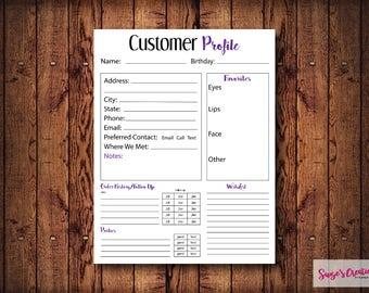 PRINTABLE Customer Profile Purple | Makeup | Direct Sales | Affiliate
