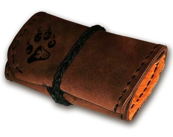 Handmade Leather Money Pouch - with your custom design pyroed on