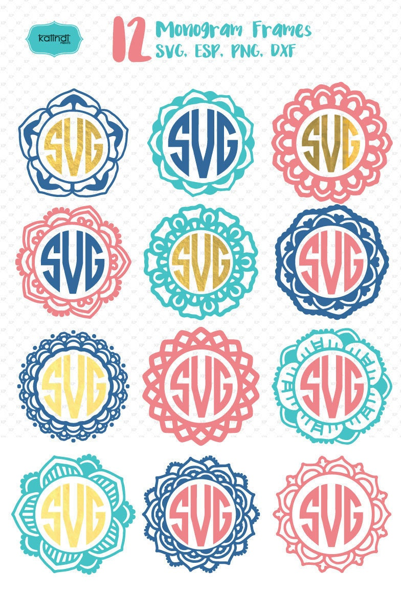 Flower Monogram Frames Svg Flower Svg Flower Monogram