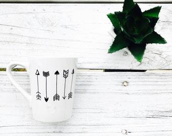 Arrow Mug | Direction | Hand Painted Mug | Coffee Mug | Ceramic Mug | Gift for Friend | White Mug