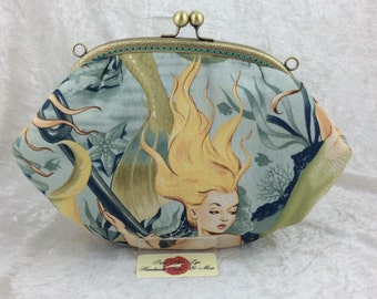The Grace Sea Sirens Mermaid bag purse handbag clutch fabric Alexander Henry handmade in England