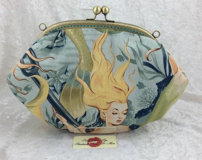The Grace Sea Sirens Mermaid bag purse handbag clutch fabric Alexander Henry handmade in England