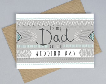 To My Dad On My Wedding Day Card, Dad Wedding Card, Thank You Dad Card, Tandem Green, Worldwide Shipping