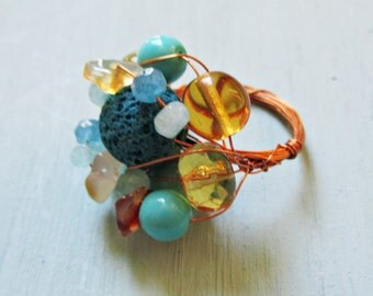 """""""Piedra"""" Turquoise and amber ring"""
