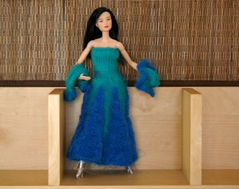 Blue dress for Barbie - Hand-knitted - knit