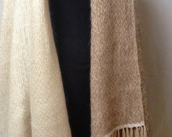 Stola, Handgeweven, mohair, viscose-zijde. 200x75 cm XL scarf.