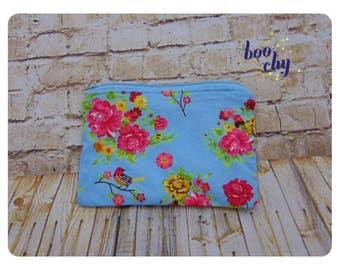 Flower and bird zipper pouch