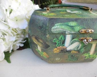 Vintage Decoupage Handbag, Box Purse, Patricia Nimocks, Forest Scenes Green Purse