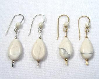 Lyn's Jewelry White Howlite Drop Earrings Silver or Gold