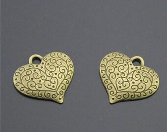 30pcs Antique Bronze Heart Charms Pendant A2282