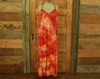 SALE vintage hand dyed orange mix full slip dress gown XL 42