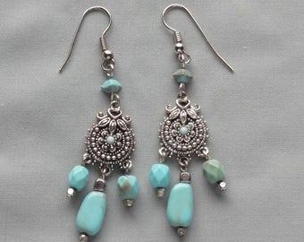 VintageTurquoise Gemstone Dangling Pierced Earrings