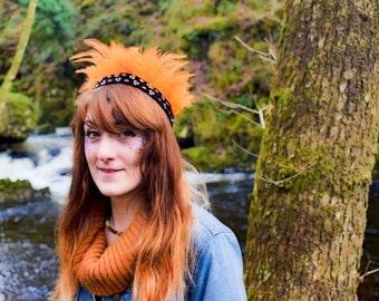 Handmade Feather Headdress, Orange Boho Gypsy Crown, Indian Headband