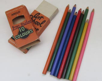 Vintage 1930s Pack of Cedarwood Coloured Pencils ~ Art School Crayons