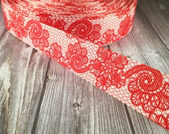 Wedding ribbon - Red lace look - Fancy printed ribbon - Wedding grosgrain ribbon - Vintage look - Popular wedding ribbon - 3 or 5 yards