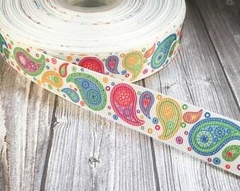 """Paisley ribbon - 7/8"""" Grosgrain ribbon - 3 or 5 yard lot - Crafting ribbon by the yard - Pretty ribbon"""