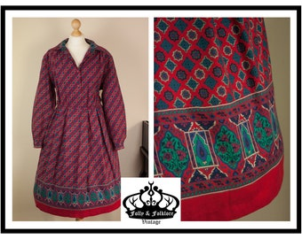 70s Red Folkloric Paisley Blouson Shirtwaist Day Dress by Eastex, Size L