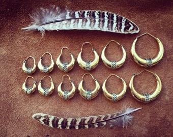Hoop Earrings, Gypsy Earrings, Tribal Brass Earrings, Tribal Jewellery, Brass Hoops, Gypsy Hoop Earrings, Indian Earrings, Mandala Earring