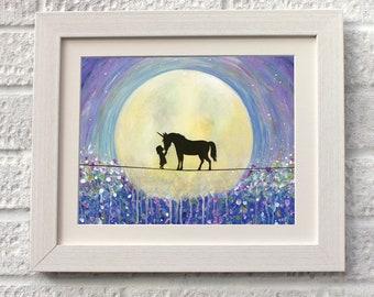 Kiss Unicorns, Fine Art, Giclee Mounted Print, UK Seller.