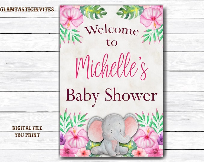 Elephant Baby Shower Welcome Sign, Baby Shower Welcome Sign, Elephant Welcome Sign, Baby Shower Decor, Baby Shower Sign, Girl Baby Shower