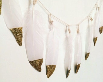 Gold Dipped Feather Garland | White