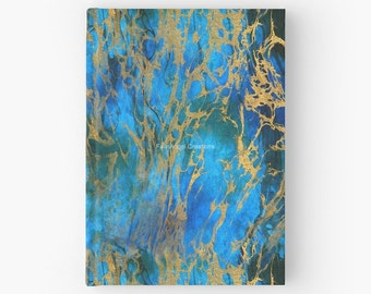 Blue and Gold Swirls Hard Cover Book, Journal - You Choose Paper Style!