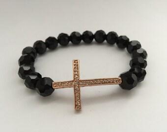 REDUCED Black Crystal & Rose Gold Bracelet