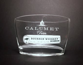 Recycled Calumet Farm Bourbon Whiskey Bottle Candle