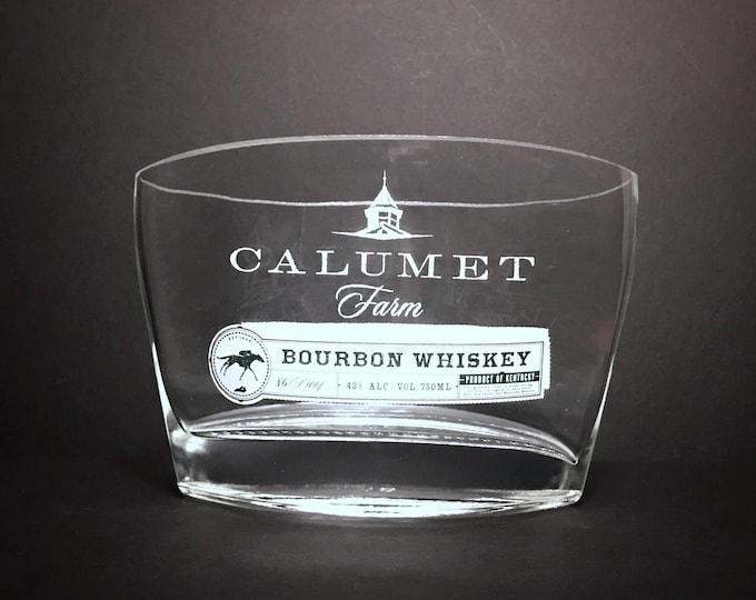 Recycled Calumet Farm Bourbon Whiskey Bottle Candle