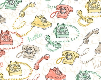 1/2 yd Talk to Me Rotary Phones by Ink & Arrow Fabric 24341 -Z