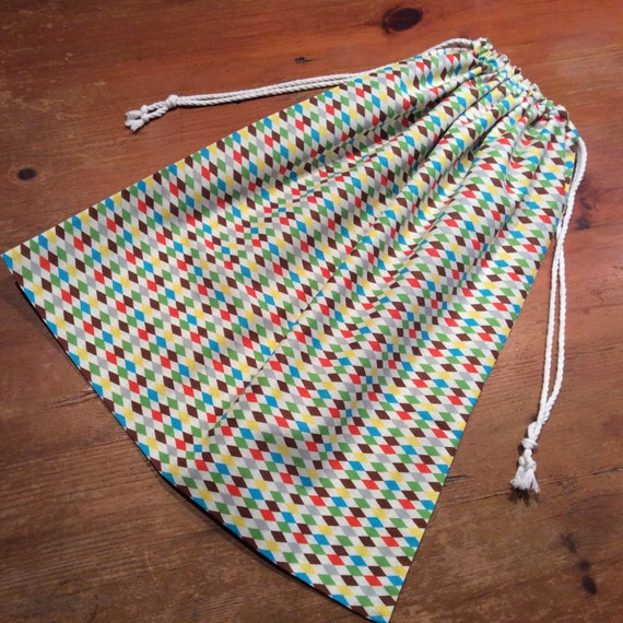 Unisex Library Bag, Extra Large 50cm x 43cm, Drawstring,  Diamond Multi-colour, quality Hand Made
