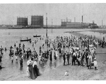Magazine Beach 1906 Swimming in Charles River Cambridge Mass - many sizes - facing Boston black and white Harvard Poster Framable