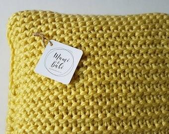 READY TO SHIP - Chunky Knit Cushion, Yellow Cushion, Decorative Pillow, Decorative Knitted Pillow, Cushion, Yellow Pillow