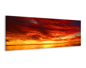 Panoramic Sea Sunset - Framed Seascape Wall Art Canvas Print // 5 Sizes // High Quality // Fast & Free shipping to EU